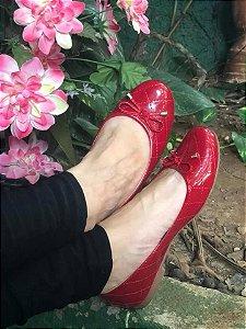 Sapatilha Matelassê Vermelha verniz