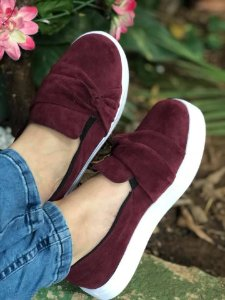 Tênis Slip On Marsala Nó Lateral