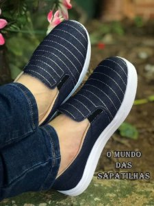 Tênis Slip On Jeans Bordado