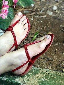 Sandália Rasteira Vermelha Verniz