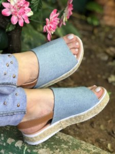 Sandália Corda Jeans Claro Faixa