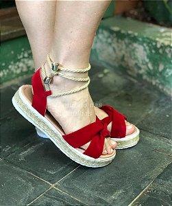 Sandália Corda Vermelha de amarrar
