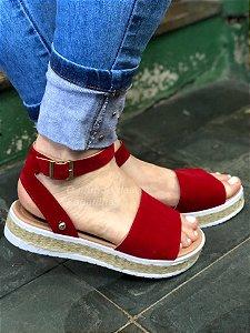 Sandália Corda Faixa Vermelha