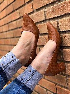 Sapato Salto Caramelo Croco