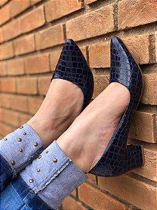 Sapato salto Azul Marinho Croco