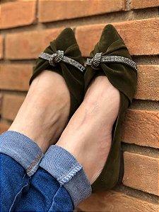 Sapatilha Verde Bico Fino Nó Strass