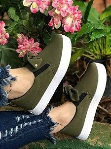 TÊnis Slip On Glamour Laço Verde