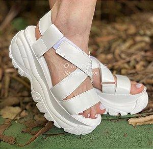 Sandália Papete Plataforma Chunky Branca