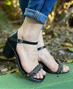 Sandália Salto Luxo Preta Strass