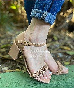 Sandália Salto Luxo Nude  Strass
