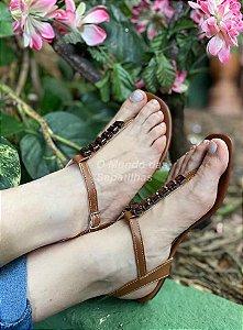 Sandália Rasteira Pedra Caramelo