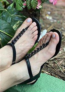 Sandália Rasteira Preta Pedra