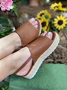 Sandália sola Corda Caramelo Faixa Croco