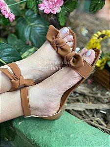 Sandália Rasteira Caramelo Lacinho