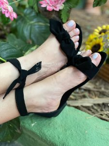 Sandália Rasteira Lacinho Preta