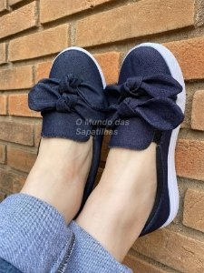 Tênis Slip On Laço Duplo Jeans