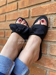 Sandália rasteira Ipanema Preta Laço