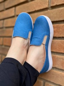 Tênis Slip On Jeans Liso Claro
