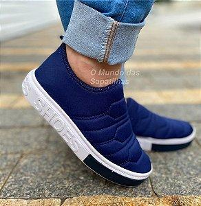 Tênis Meia Shoes Marinho Bordado