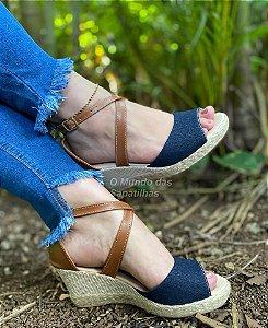 Sandália Anabela Jeans Caramelo Cruzada