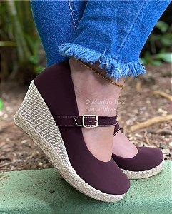Sapato Anabela Boneca Marsala