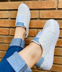 Tênis Elástico Branco Bordado Jeans