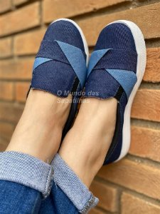 Tênis Slip On Transpassado Jeans