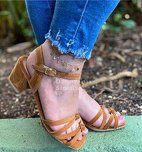 Sandália Confort Salto Bloco Caramelo Nó Duplo