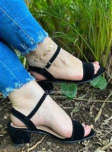 Sandália Confort Salto Bloco Preta