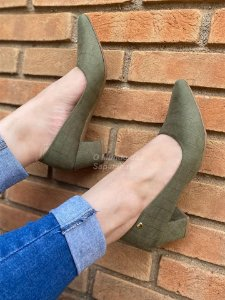 Sapato Scarpin Suede Verde Militar