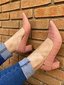 Sapato Scarpin Suede Rosê