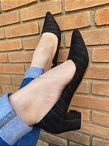 Sapato Scarpin Preto Suede