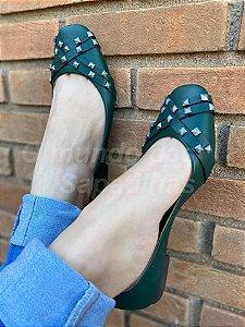 Sapatilha Quadrada Verde Spike