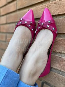 Sapatilha Pink Tiras Spike Pirâmide
