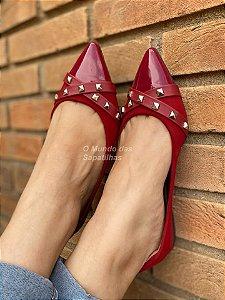 Sapatilha Vermelha Tiras Spike Pirâmide