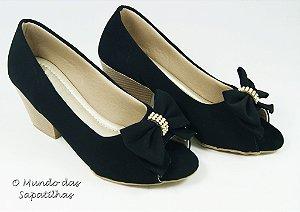 Sapato Preto Laço Peptoe