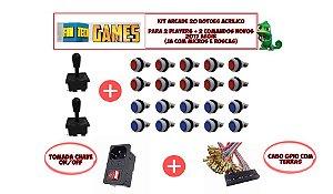 20 Botões Acrílicos 2 Comandos Arcade E Gpio Raspberry Pi