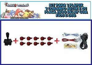 Kit Arcade 1 Player Comando 10 Botões 1 Placa Zero Delay Pi3