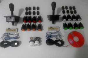 Kit Arcade Diy + Placa Usb - 02 Players - Botões Black