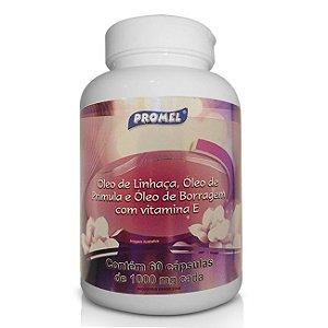 Óleo de Linhaça com Prímula, Borragem e Vitamina E 60 Cápsulas