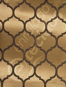 Tecido Jacquard Preto e Dourado Geométrico 2,80m de Largura