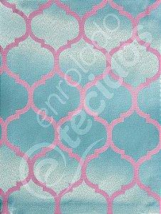 Tecido Jacquard Azul Tiffany e Rosa Geométrico 2,80m de Largura