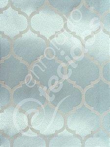 Tecido Jacquard Bege e Prata Azulado Geométrico 2,80m de Largura