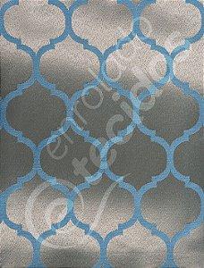 Tecido Jacquard Azul e Dourado Geométrico 2,80m de Largura