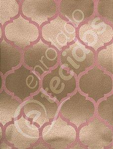 Tecido Jacquard Rosa Envelhecido e Dourado Geométrico 2,80m de Largura