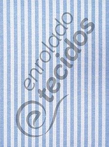 Tecido Jacquard Fio Tinto Listrado Estreito Azul Bebê e Branco 2,80m de Largura