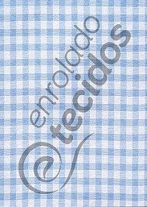 Tecido Jacquard Fio Tinto Xadrez Azul Bebê e Branco 2,80m de Largura