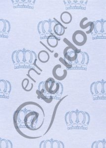 Tecido Jacquard Fio Tinto Coroa Azul Bebê e Branco 2,80m de Largura