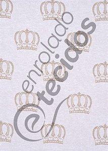 Tecido Jacquard Fio Tinto Coroa Bege e Branco 2,80m de Largura