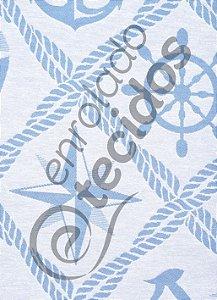 Tecido Jacquard Fio Tinto Coleção Náutica Azul Bebê e Branco 2,80m de Largura